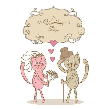 wedding cat Vector