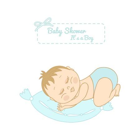 boyish: baby shower card with pretty boy sleeping on a pillow Illustration