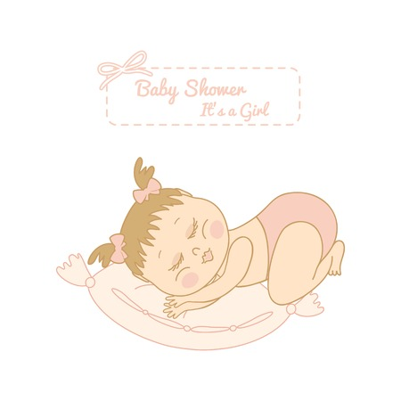 romper: baby shower card with pretty girl sleeping on a pillow