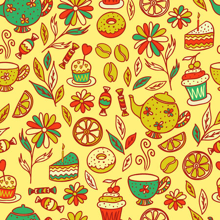 teabag: tea time seamless pattern set of elements
