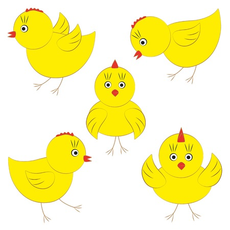 Cute yellow chicks Vector
