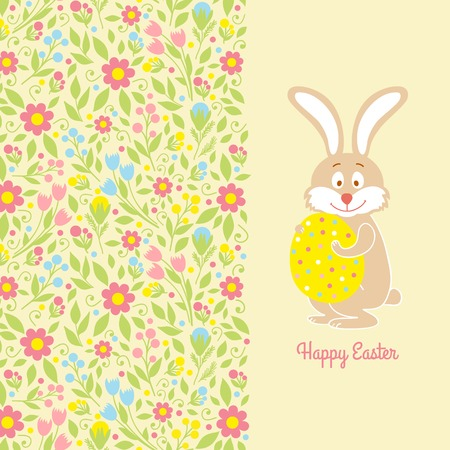 Easter bunny card with egg Vector