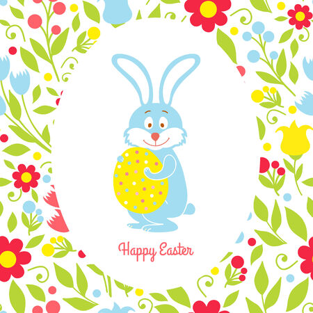 Easter bunny card with eggs and flowers Vector