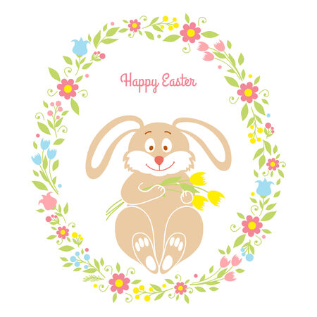 Easter bunny card with flowers Vector