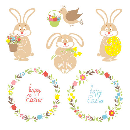 Set for Easter, Easter bunnies, flowers, birds Vector
