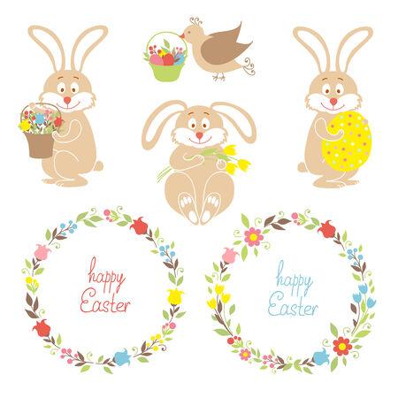Set for Easter, Easter bunnies, flowers, birds Vector