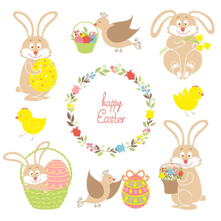 Set for Easter, Easter bunnies, flowers, birds, chickens Vector