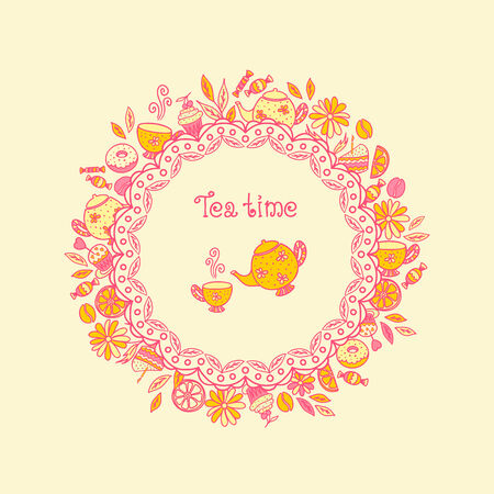 Tea time. Set of chocolates, sweets, tea utensils, coffee Vector