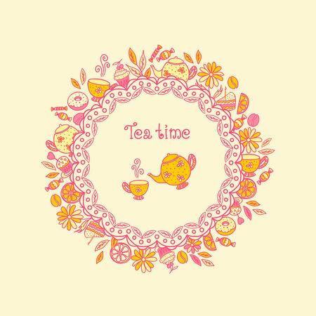 tea leaf: Tea time. Set of chocolates, sweets, tea utensils, coffee