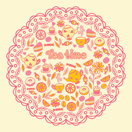 tea time, tea, sweets, lemon, Cake Vector