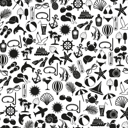 seamless pattern summer icons on white background Vector