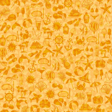 seamless pattern summer icons on orange background Vector