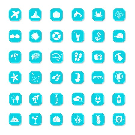 Summer blue icons on a white background Vector