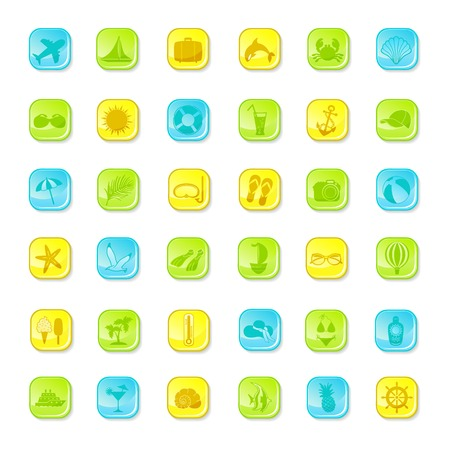 Summer bright icons on white background Vector