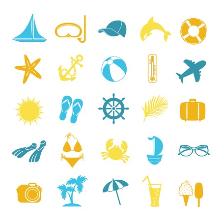 set of colored icons for summer on white background Vector