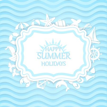 happy summer: Happy summer vacation at sea, marine background Illustration