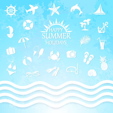 happy summer holiday sea icons and waves Vector