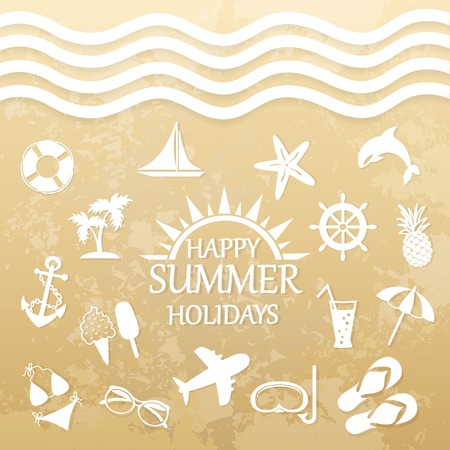 happy summer: happy summer holiday, icons for summer on the beach