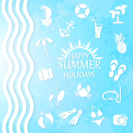 happy summer: happy summer holiday, icons for summer