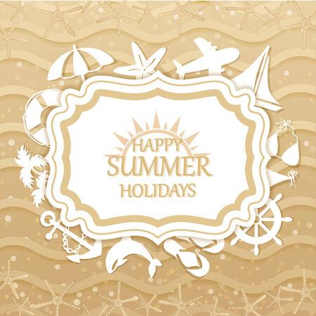 Happy summer holidays inscription, beach with sea icons Vector