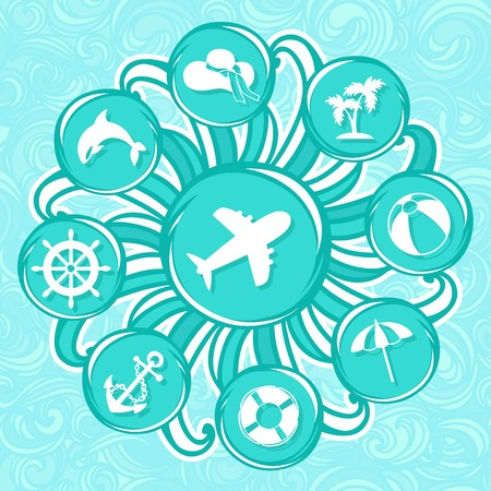 summer and sea icons, set of elements Vector