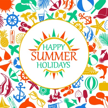 happy summer holiday, colored icons on a white background Vector