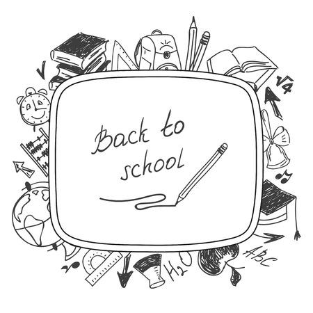 Welcome back to school, school background of school supplies illustration. Vector