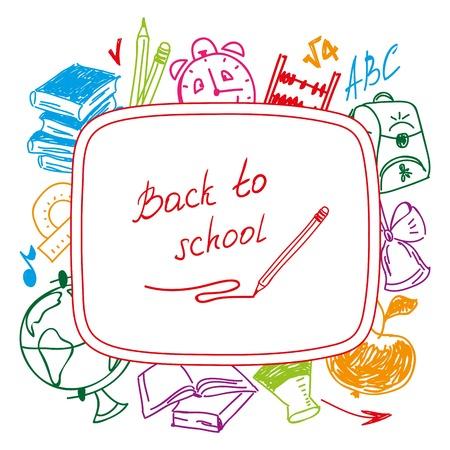 Back to school, school background of school supplies. Vector illustration. Vector