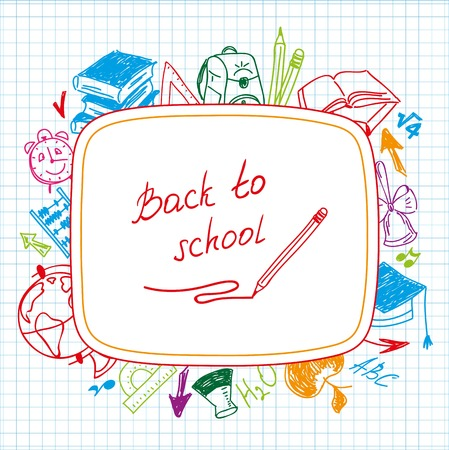 Back to school, school background of school supplies color illustrations Illustration