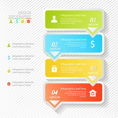 Design infographics four successive options. Vector illustration. can be used for step up options, web design. Vector