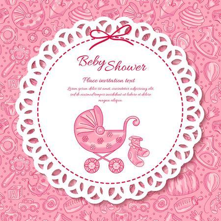 felicitaciones: Baby shower, tarjetas de felicitaci�n para el beb�, iconos patr�n de beb� sin problemas Vectores
