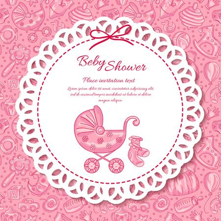 Baby shower, greeting card for baby girl, seamless pattern baby icons Illustration