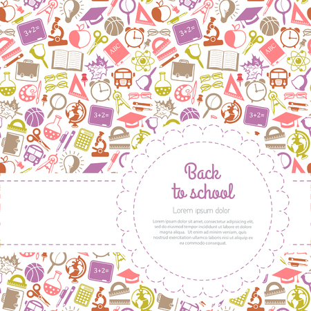 education background: Back to school background with space for text, education icons
