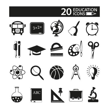 Education icons set on white background. Vector