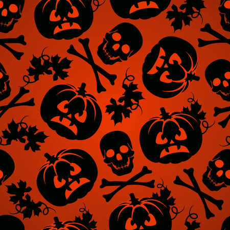 Halloween background with pumpkin and skeleton seamless pattern Vector