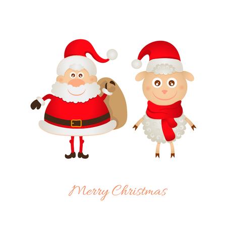 one year old: Santa Claus con una bolsa de regalos y ovejas 2015