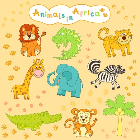 childrens colorful collection of African animals Vector