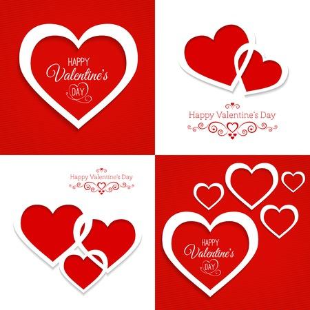 set of greeting cards with hearts Happy Valentines Day Vector