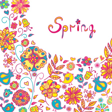 Figure spring flowers, colorful background. Vector illustration  with three flowers.