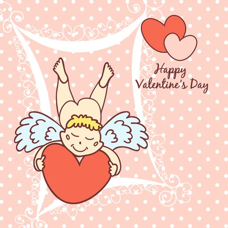 siluetas: Happy Valentines day. Cupid cute card for Valentines Day