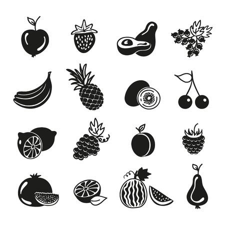frutos rojos: frutas y bayas iconos en el fondo blanco Vectores