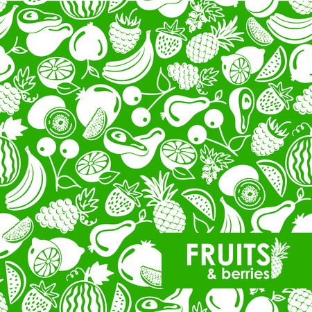 seamless pattern vector fruits and berries icons, background of fruits Vector