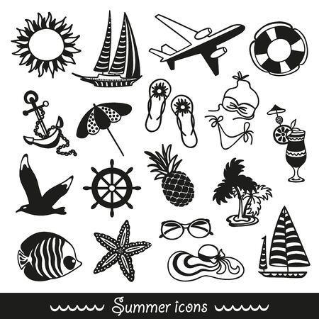 black and white summer icons symbolizing summer vacation, travel Vector