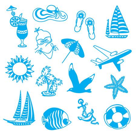 sun block: summer icons symbolizing summer vacation, travel