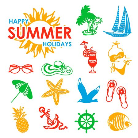 colorful summer icons symbolizing summer vacation, travel Vector
