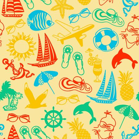 watermelon boat: seamless pattern of colored summer icons symbolizing summer vacation, travel Illustration
