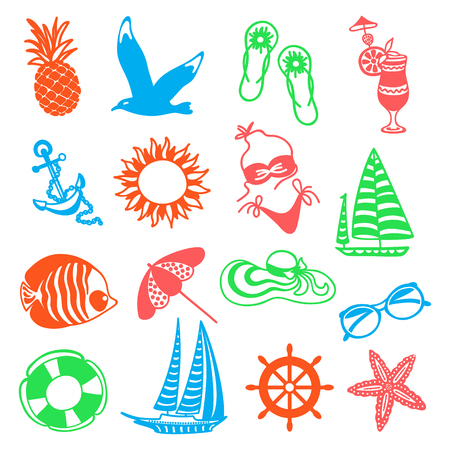 watermelon boat: colorful summer icons symbolizing summer vacation, travel Illustration