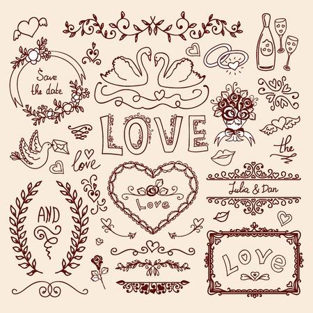 decorative elements: Set of wedding ornaments and decorative elements Illustration