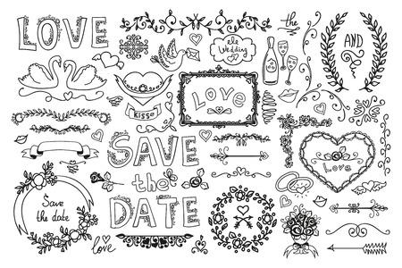set of wedding ornaments and decorative elements ribbon labels