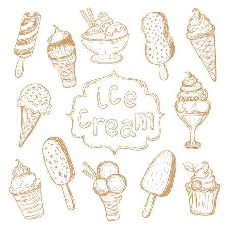 cartoons sweet: Hand drawing set of ice cream, Vector Illustration